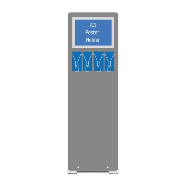 A3 poster holder stand with DL leaflet holders