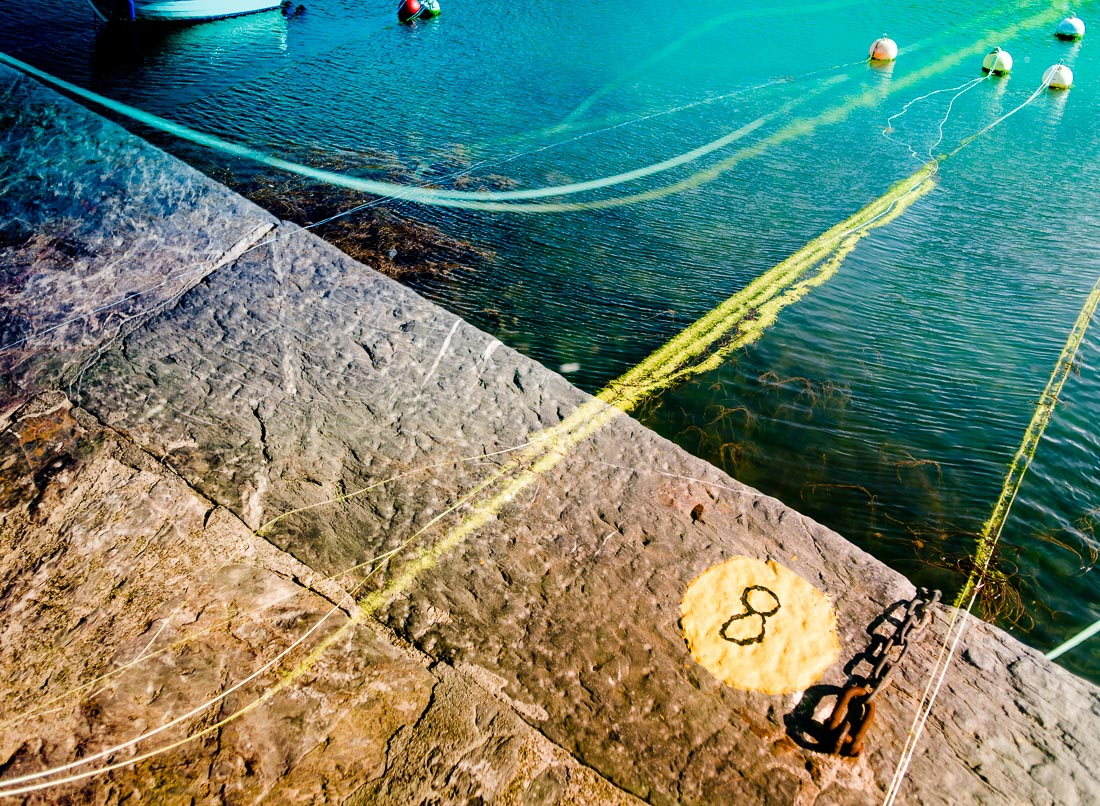 Multiple Exposure of the harbour wall ropes Mawes Cornwall