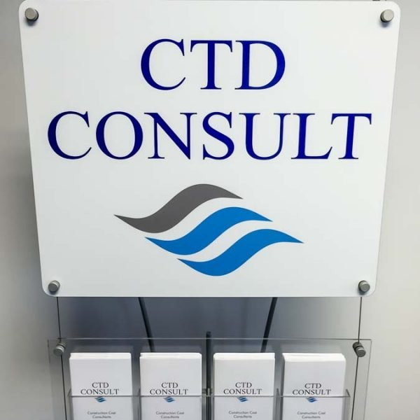 small signage stands with DL Leaflet rack