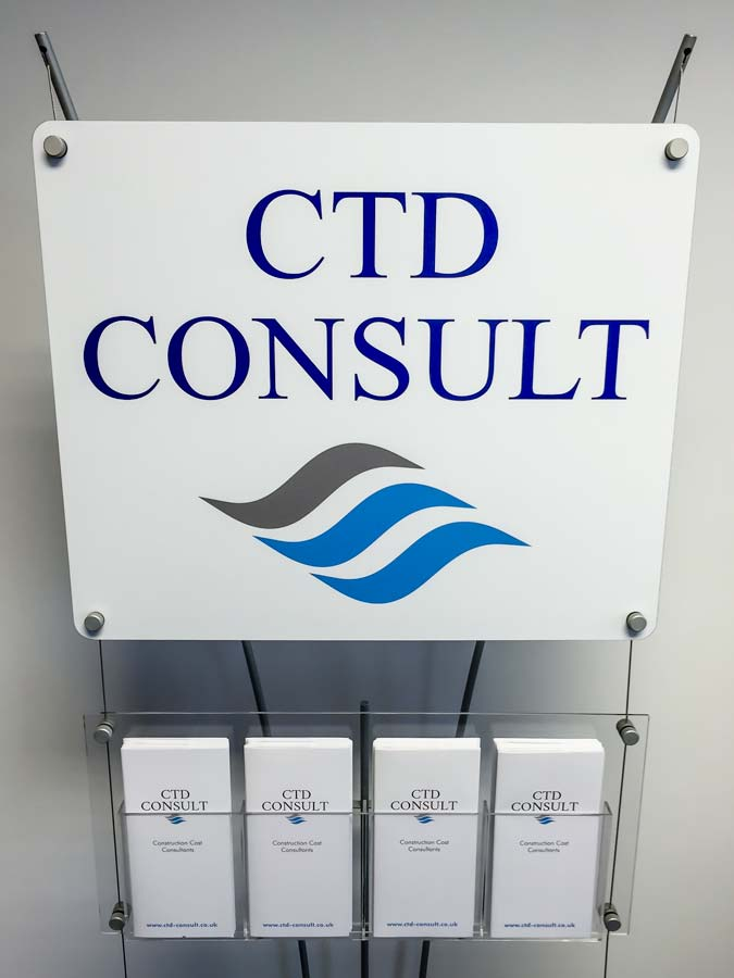 Custom printed sign with DL Leaflet rack