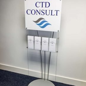 floor standing DL Leaflet holders with printed sign