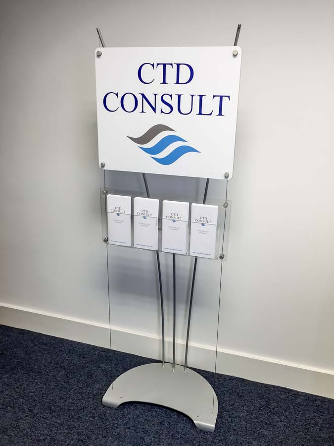 floor standing DL Leaflet rack with printed sign