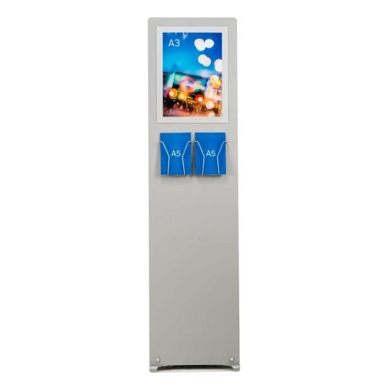 A3 poster with A5 brochure holders on rigid panel stand