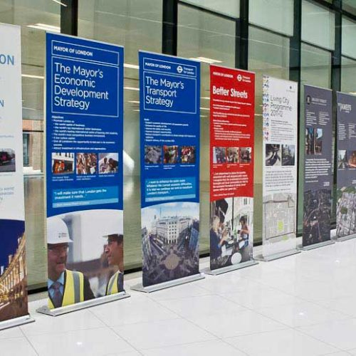 row of 85cm roller banners