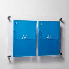 A4 leaflet holders fixed to wall with stand off fixings