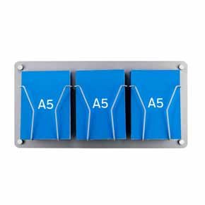 A5 Leaflet Display wall mounted silver