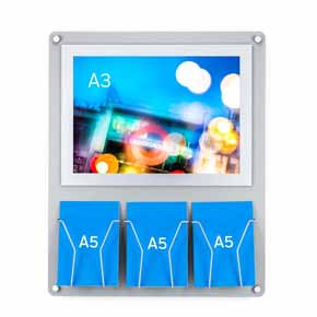 Silver A3 poster frame with brochure holders a5