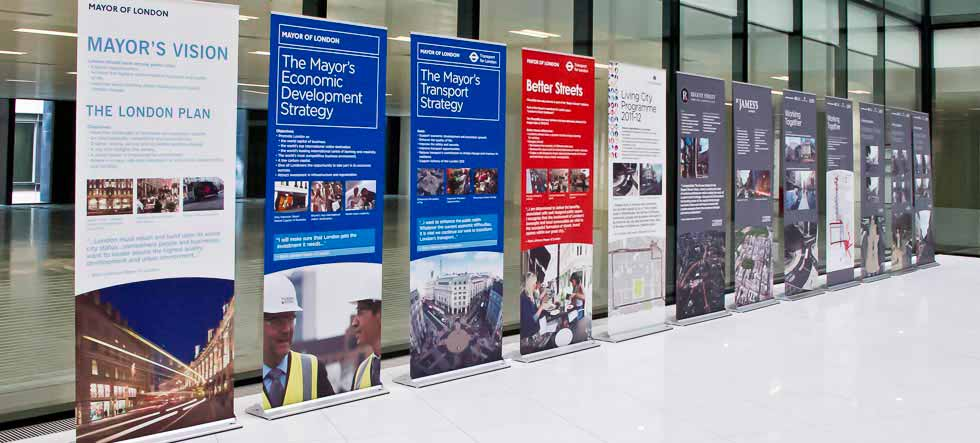 Pull Up Banner Stands in foyer