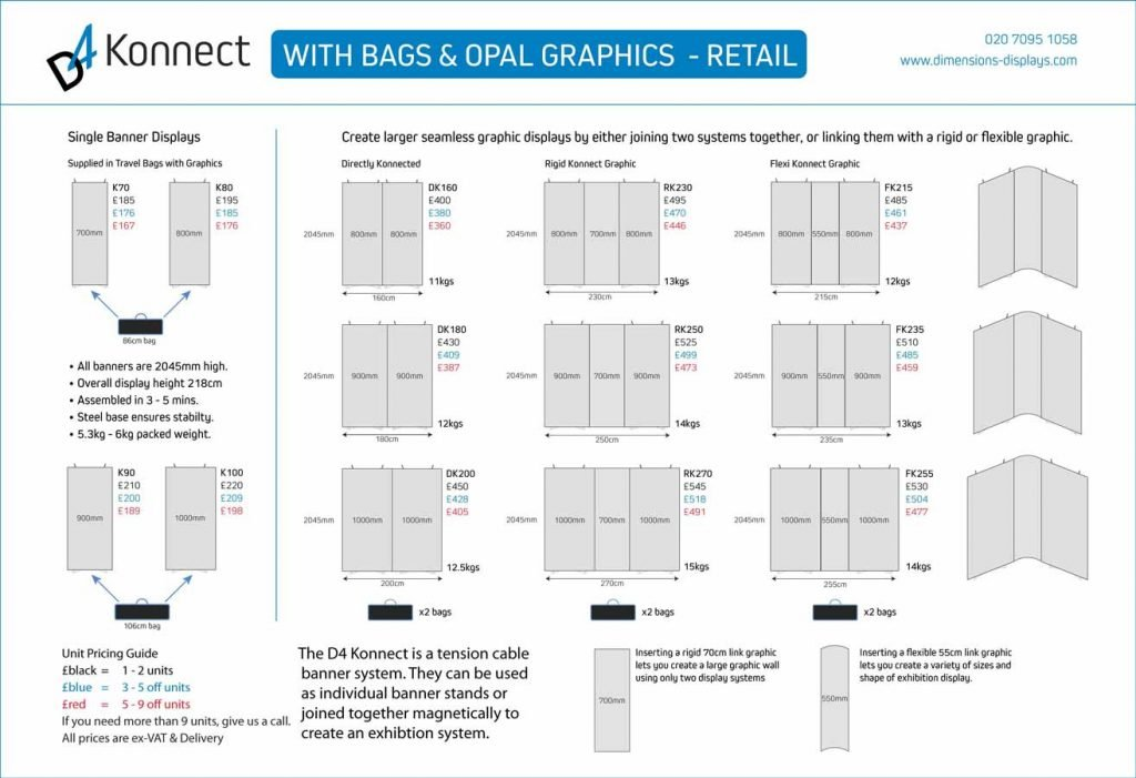 Poster showing the retail prices for Konnect Banner Stands