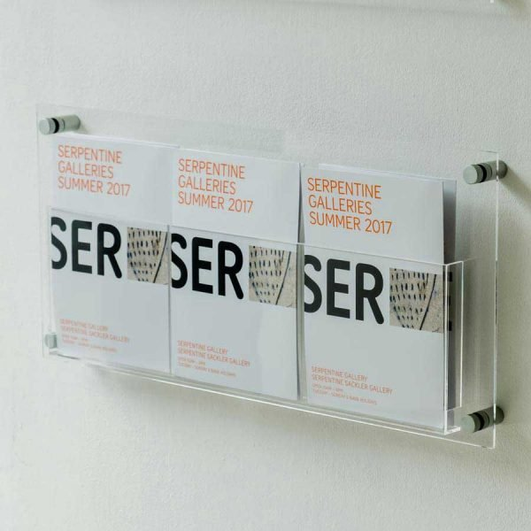 wall mounted clear perspex leaflet display