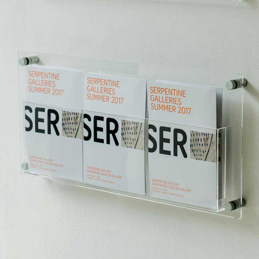 Clear acrylic A5 Leaflet holder wall fixed with stand offs