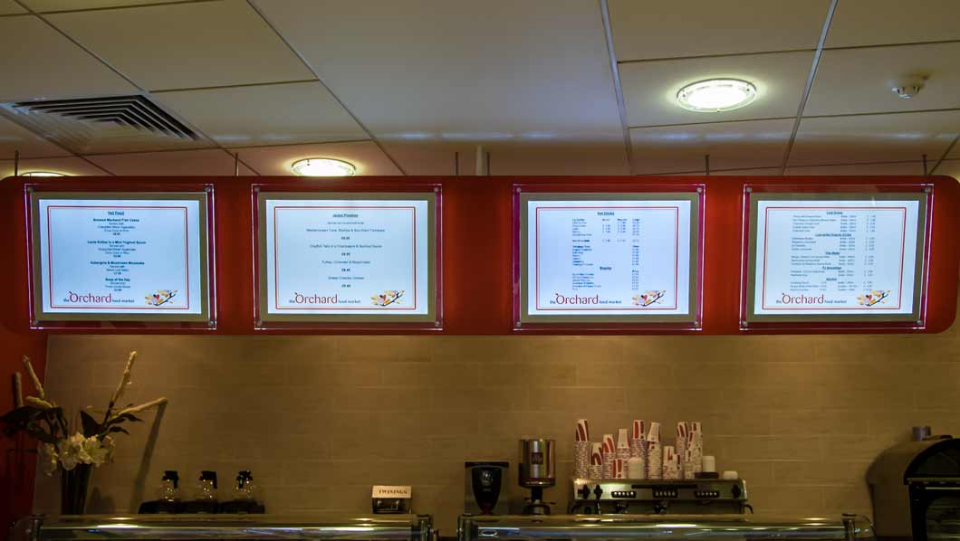 a2 light boxes in restaurant