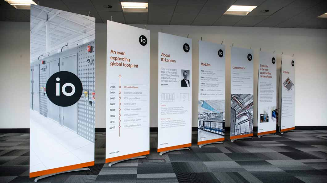 showroom display stands in contemporary office space