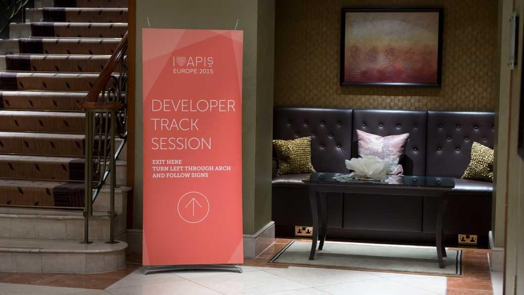 Mini banner stand in hotel foyer