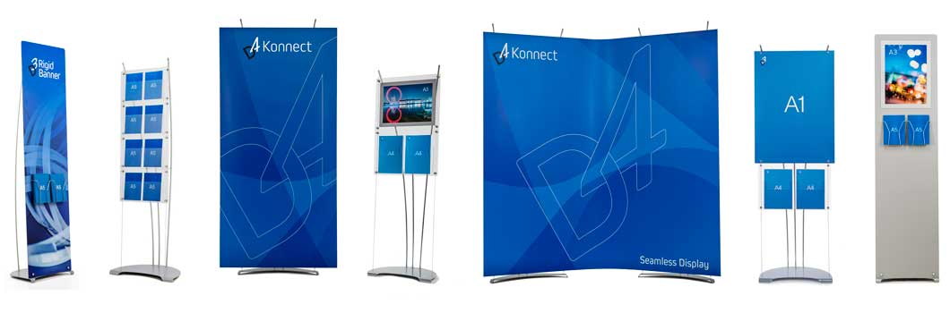 portable exhibition stands for banners, brochures, posters