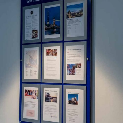 Multiple A4 magnetic poster holder display in office reception