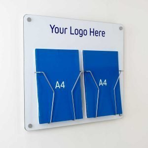branded a4 leaflet holder wall fixed