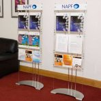 custom brochure display stand with printed graphic header