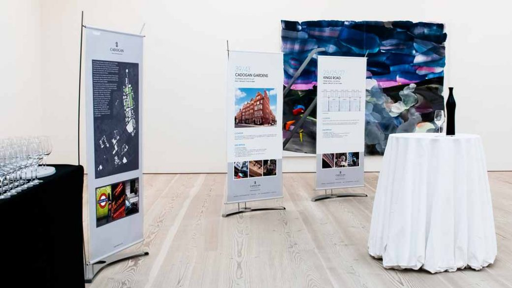 stylish banner stand in art gallery