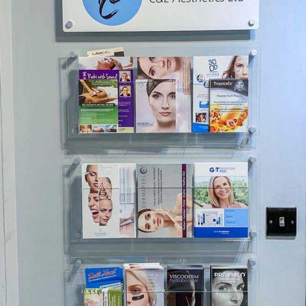 wall mounted printed perspex brochure display