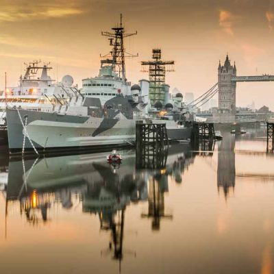 hms belfast at dawn