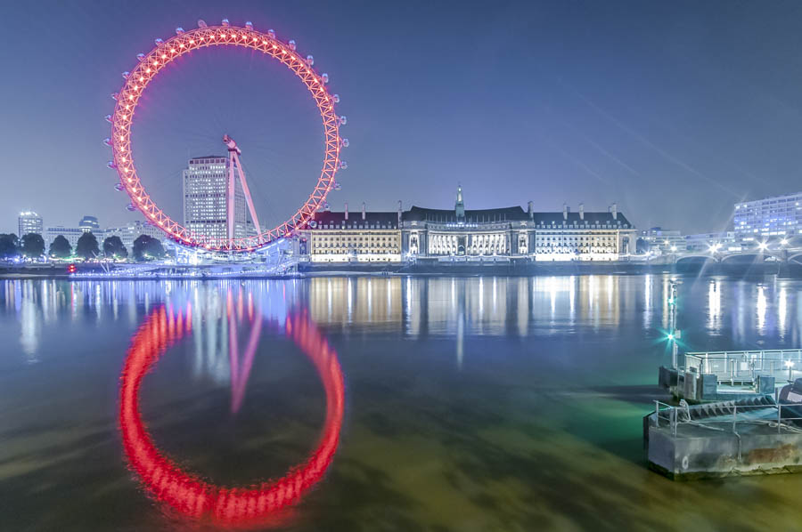 london eye reflection in the thames