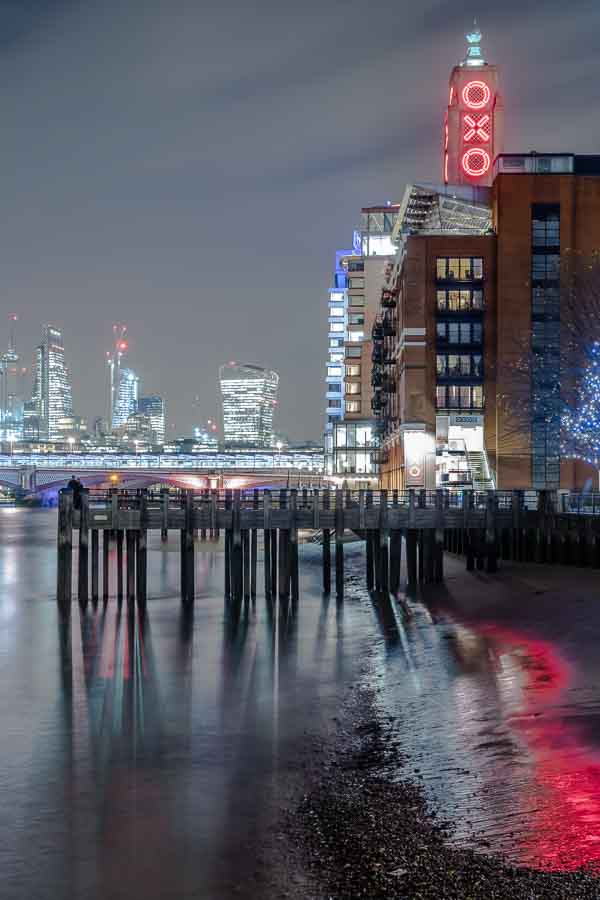 Oxo Tower Jetty and beach reflection