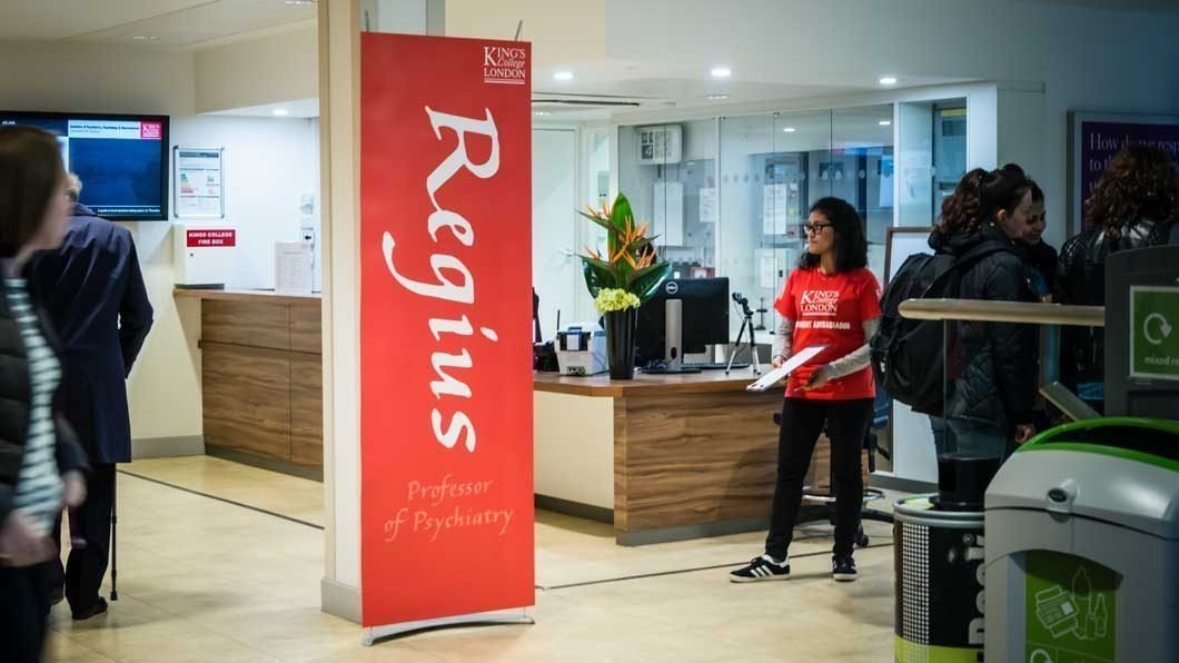 Portable banner stand sign in university reception