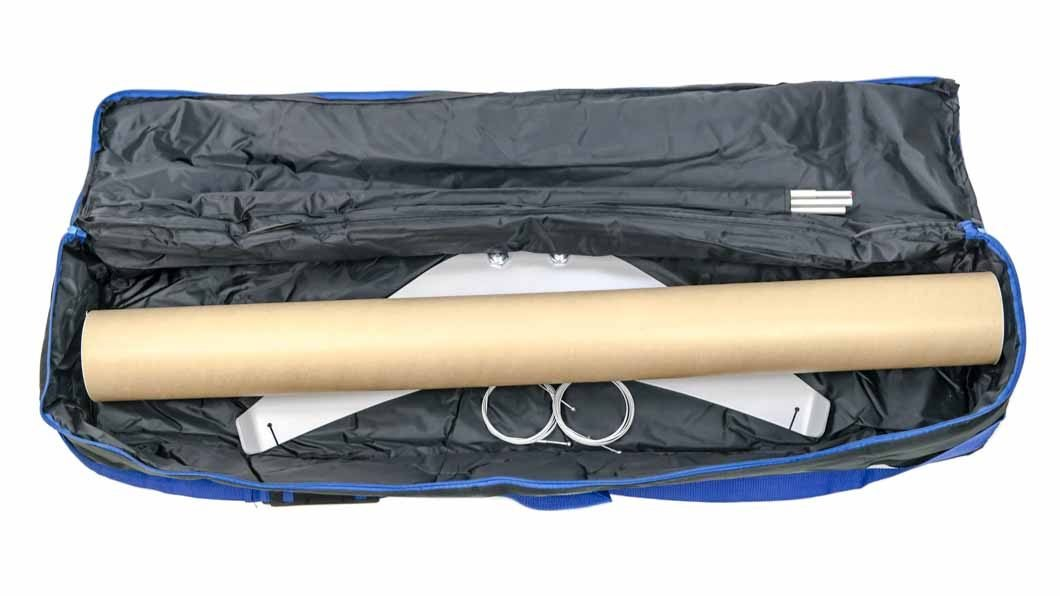 Banner stand packed into portable travel bag