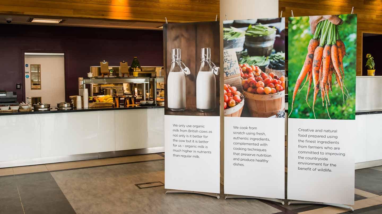 banner displays in corporate restaurant